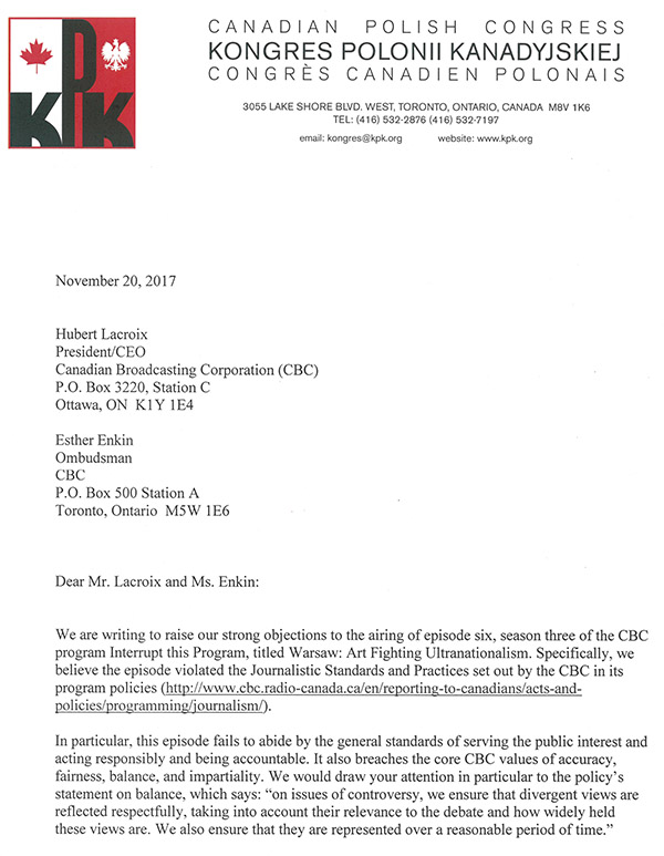 Letter to CBC 1