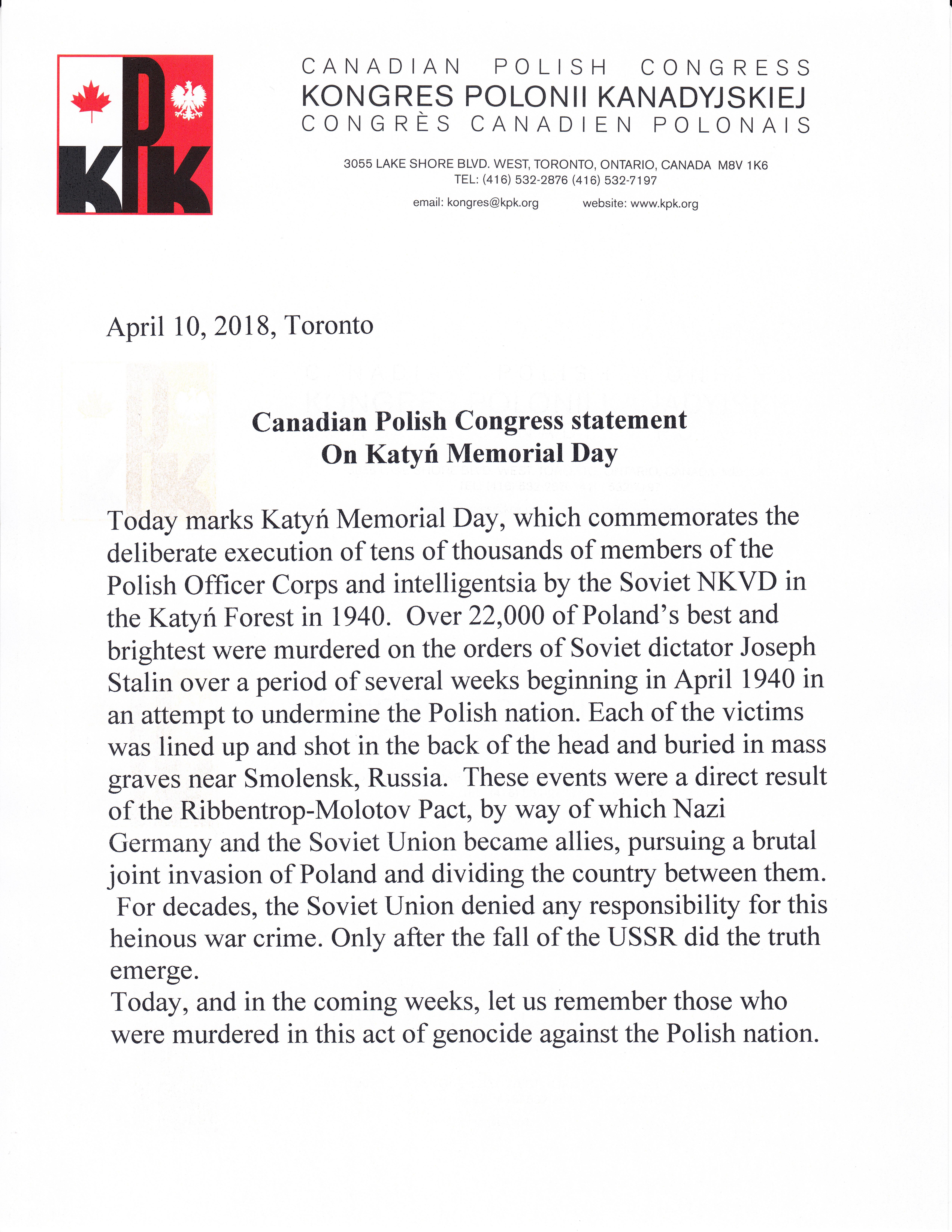 Katyn – Canadian Polish Congress Statement